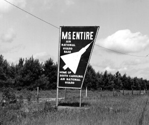 SIGN AT ENTRANCE TO McENTIRE ANGS DURING F-104 ERA.